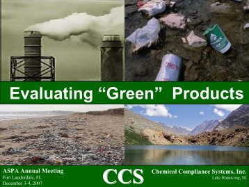 "Evaluating ""Green"" Products - Automotive Specialty Products Alliance"