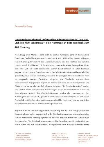 """""""Ich bin nicht sentimental"""". Eine Hommage an Fritz Overbeck zum ..."""