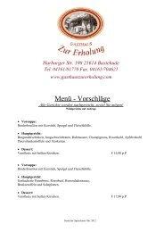 Menü Vorschläge - Gasthaus Zur Erholung Buxtehude