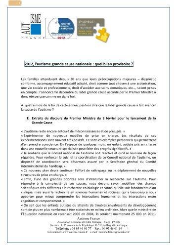 2012, l'autisme grande cause nationale : quel ... - Autisme France