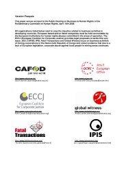 Parlement européen - European Coalition for Corporate Justice
