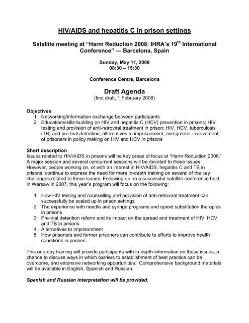 HIV/AIDS and hepatitis C in prison settings — Draft agenda