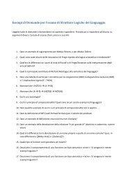 Esempi di domande per l'esame finale scritto - PEOPLE