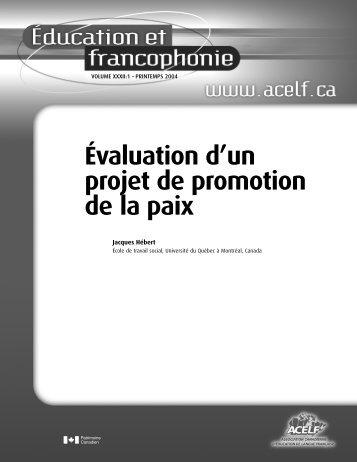 Évaluation d'un projet de promotion de la paix », Éducation et ... - acelf