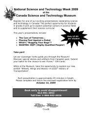 NSTW Lectures - Musée des sciences et de la technologie du Canada