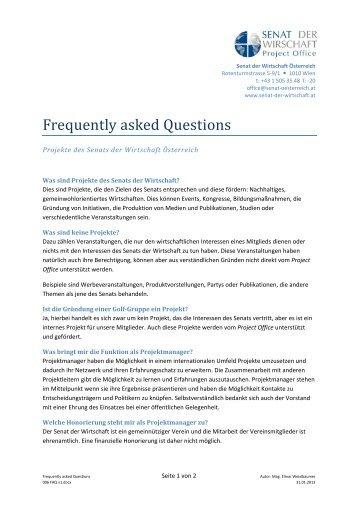 FAQ Frequently asked Questions - Senat der Wirtschaft
