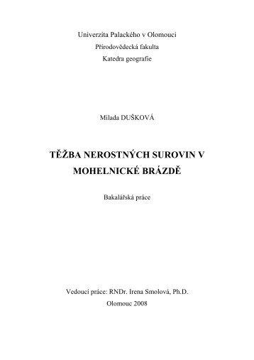 Těžba nerostných surovin v Mohelnické brázdě - Katedra geografie ...