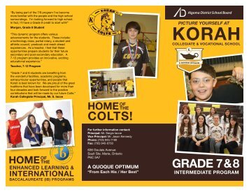 2013 Brochure: Korah's Grade 7 & 8 Intermediate Program
