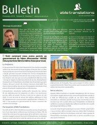Bulletin d'information du printemps, volume 8 - Able Translations Ltd.