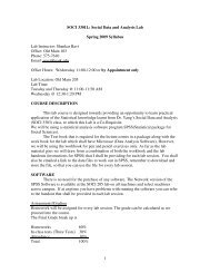 1 SOCI 3301L: Social Data and Analysis Lab Spring 2009 Syllabus ...