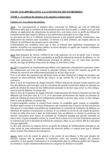 loi du 31.01.2009 relative a la continuite des entreprises - Juridat