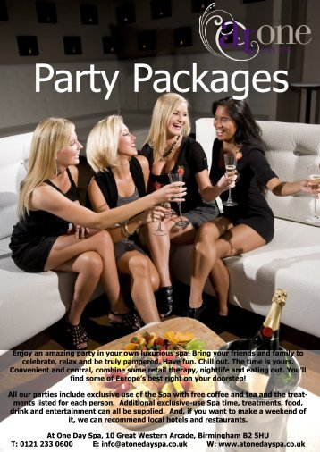 Enjoy an amazing party in your own luxurious spa ... - At One Day Spa