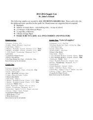 2013-2014 Supply List St. John's School