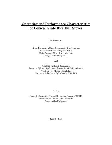 Operating and Performance Characteristics of rice hull stoves