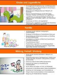 Kinder und Jugendliche Familie Bildung, Freizeit, Erholung
