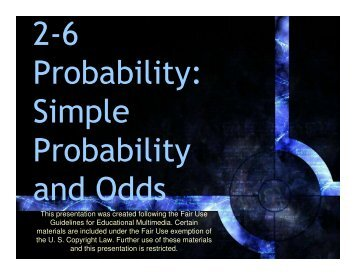 2-6 Simple Probability and Odds - Mona Shores Blogs