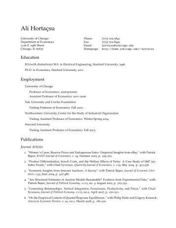 Ali Hortaçsu: Curriculum Vitae - Academic Room