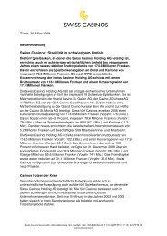 Swiss Casinos: Stabilität in schwierigem Umfeld