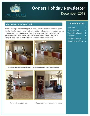 Owners Holiday Newsletter - Infinity Bay Spa and Beach Resort