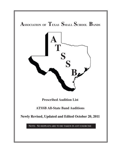 Prescribed Audition List ATSSB All-State Band Auditions
