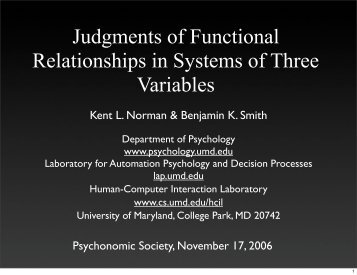 Judgments of Functional Relationships in Systems of Three Variables