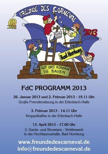 FdC PROGRAMM 2013 - Bad Homburger Carneval Gesellschaft