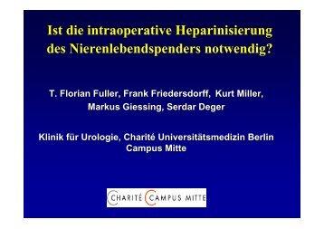 Ist die intraoperative Heparinisierung des Nierenlebendspenders ...