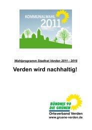 Verden wird nachhaltig - Bündnis 90/Die Grünen, Kreisverband ...