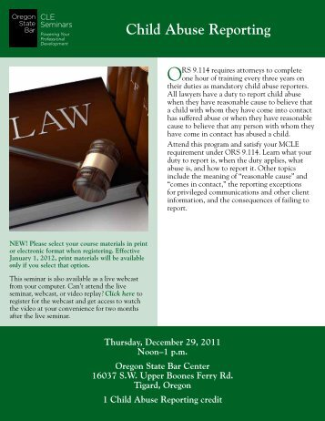 Child Abuse Reporting - Oregon State Bar CLE Seminars
