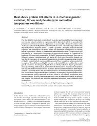 Heat shock protein 101 effects in A. thaliana - The Tonsor Lab ...