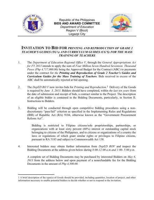 Invitation to Bid for Printing and Reproduction of     - DepEd RO-5