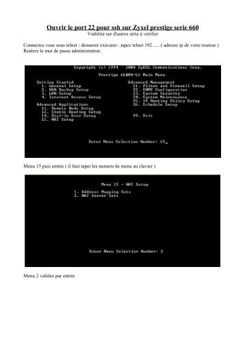 Ouvrir le port 22 pour ssh sur Zyxel prestige serie 660 - Balises