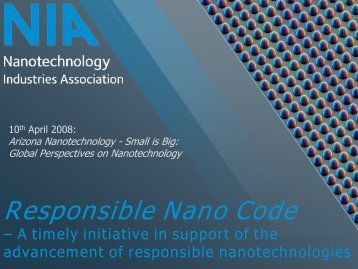 Responsible Nano Code - Arizona Nanotechnology Cluster