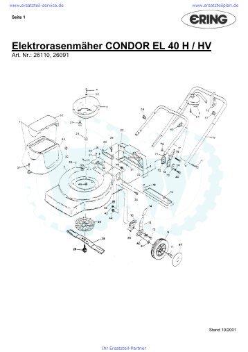 Elektrorasenmäher CONDOR EL 40 H / HV - Ersatzteilplan