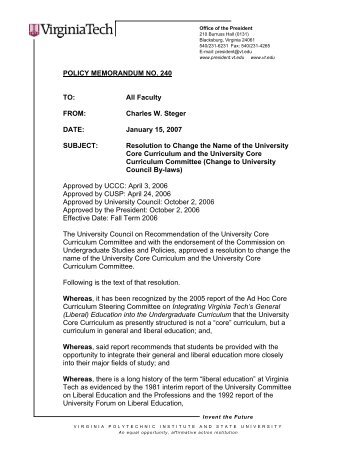 Virginia Tech Letterhead - University Policies