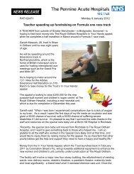 NEWS RELEASE - Pennine Acute Hospitals NHS Trust