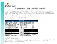 2013 Medicare Part D Formulary Change - EmblemHealth
