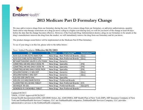 Medicare Part D >> 2013 Medicare Part D Formulary Change Emblemhealth