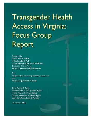 Transgender Focus Group Report - Virginia Department of Health