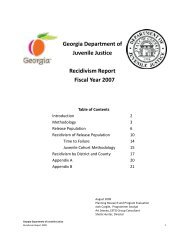 FY2007 Recidivism Report - Georgia Department of Juvenile Justice