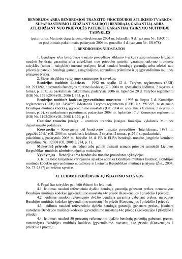 bendrijos arba bendrosios tranzito procedÃ…Â«ros atlikimo tvarkos ...