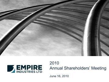 Company's presentation - Empire Industries