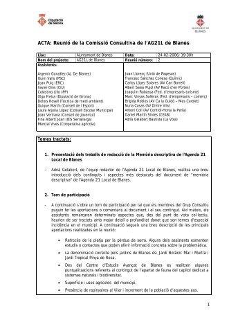 Acta núm. 2 Grup Consultiu - Ajuntament de Blanes