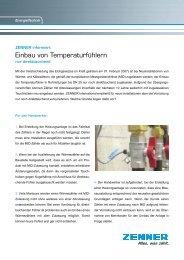 Einbau von Temperaturfühlern - Zenner