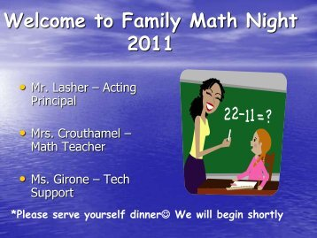 Welcome to Family Math Night 2010