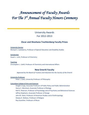 Announcement of Faculty Awards For The 3rd Annual Faculty ...