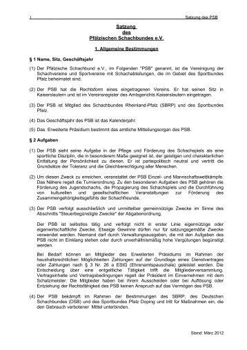 Satzung des Pfälzischen Schachbundes eV - Pfälzischer Schachbund