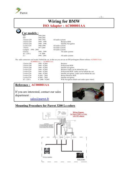 wiring for bmw iso adapter  ac000001aa  parrot