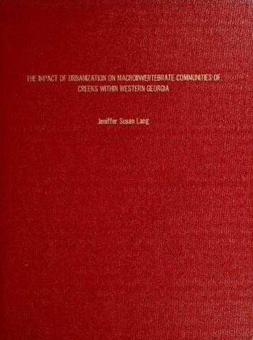 The Impact of Urbanization on Macroinvertebrate Communities of ...