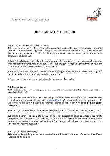 Regolamento Corsi Liberi - Marzo 2012-2 - Conservatorio Steffani